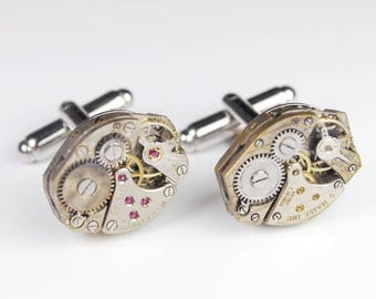 Steampunk Cufflinks Vintage Rustic Swiss Watch Movement Mens Gear Cuff Links by Steampunk Vintage Design