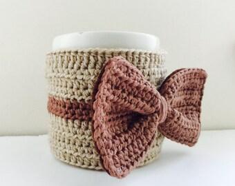 Mochaccino Bow - Cup Cosy, Cup Sleeve, Mug Cosy, Cup Cozy, Mug Sleeve, Mug Warmer - Wool Cotton mix