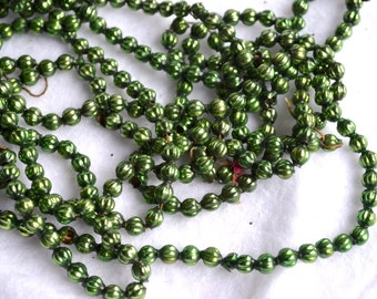 Vintage Mercury Glass Beads Garland - Green Strand of 128 Beads