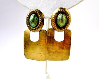 """Vintage Brass 2 1/2"""" Ethnic Long Dangles Textured Domed Top Patina Green 1970's Bohemian Hippie Primitive Rustic Tribal  Statement High End"""