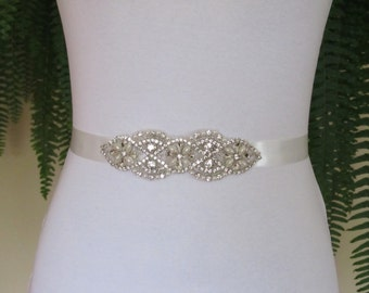 Pearl And Rhinestone Demi Sash Bridal Sash,Bridal Accessories,Bridal Belt and sashes,Ribbon Sash,Style #DS3