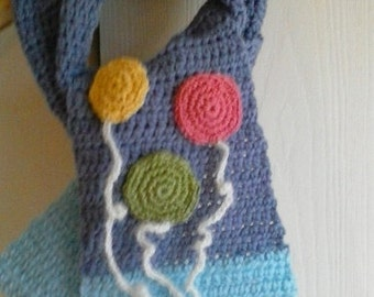 Children's balloon scarf Bunch of balloons Warm wool scarf Kids knits Lavender and aqua