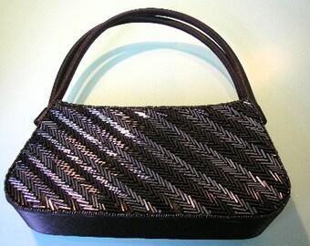 Bijoux Terner Purse, Black, Beaded, Vintage Evening Bag, Bugle Beads, Shoulder Bag, Black Handbag, Evening Purse