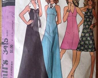 Vintage 70s McCalls 3415 Halter Dress with Detachable Collar - size 12