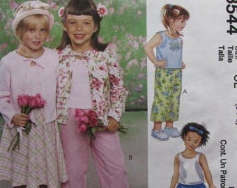 SALE- McCalls 3544/Uncut Sewing Pattern/Children's/Girls Cardigan, Top, Skirt, Capri Pants/Size 6-7-8/2002