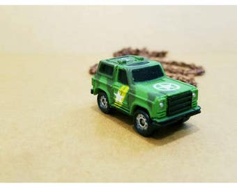 Vintage upcycled micro machine toy necklace- 80s army jeep