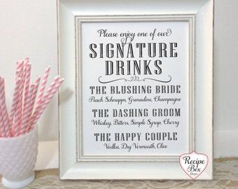 Bar Menu Sign, Drink Menu Sign, Wedding Signature Drink Sign, Wedding Bar Menu Sign, One 8 x 10 sign, Wedding Signs Table Sign NO FRAME