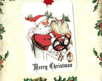 Christmas, Santa Tags, Christmas Gift Tags, Retro Santa, Christmas Tags