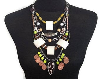 "ON SALE Tribal African Bib Collar Statement Multistrand Beaded Statement Necklace ""DEW"" with Bone in Cream, Brown, Neon Yellow, Black"