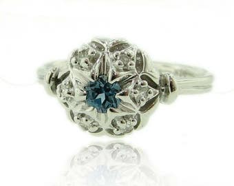 Vintage Bisnonna Wedding Set, Blue Topaz with Diamond Accent