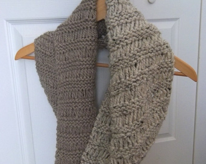 Wrap around Cowl - Knitted Warm and Cozy Cowl - Colors Beige and Cream