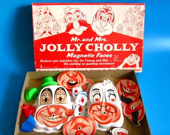 "Vintage ""Jolly Cholly"" Magnetic Face Game toy 1960s retro mr potato head kitsch weird heads faces"