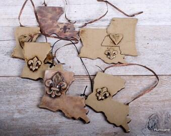 Handmade Louisiana Ornaments. Shabby Ceramic Clay Ornament.  Louisiana with Fleur De Lis or Heart Louisiana. Vintage Look Ornaments