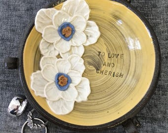 Ceramic Wedding Ring Bowl, with Poppies in Autumn Yellow and Brown Stoneware Clay