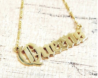 Old English Name Necklace, Gothic Name Necklace, Olde English, Double Thick Yellow Gold Plated with Thicker Figaro Chain
