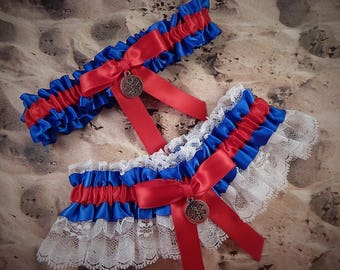 EMT Emergency Medical Tech Paramedic Charms Royal Blue Red Satin white Lace Wedding Garter Toss Set