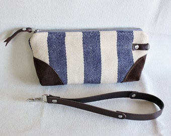 Stripe wristlet ,pouch ,clutch, wallet, IPhone pouch, bridesmaid gift Indigo with leather trim - READY--