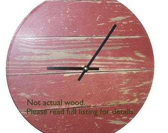 10 Inch SILENT Barn Red Rustic Wall Clock NUMBERS Optional, Wood Image Wall Clock, Unique Wall Clock (NOT Real Wood) - 2255
