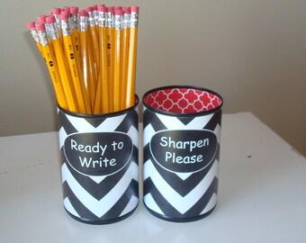 Black White Chevron Desk Accessories - Teacher Gift - Tin Can Pencil Holder with Labels - Classroom Organization - 951