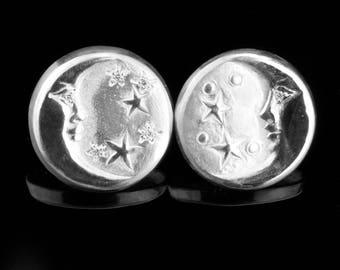 Sterling Silver and White Diamonds Man in the Moon Earrings - Celestial Earrings - Moon and Stars Button Earrings - Bead Set Diamond Stars