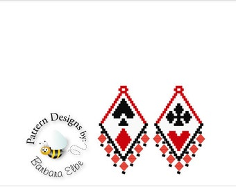 Poker Playing Cards Beaded Earring Pattern Peyote or Brick Stitch #398