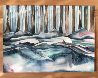 Original Watercolour Painting 11x15 'Woodlands Whale'