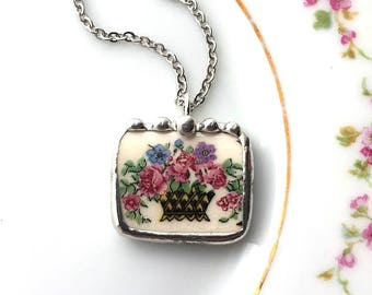 Broken china jewelry pendant necklace, antique basket of roses with forget me not, antique porcelain, made from a broken plate