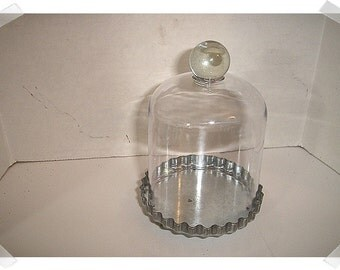 "Acrylic Cloche with Galvenized Base/ 5"" tall w/knob / Home Decor/Supplies*"
