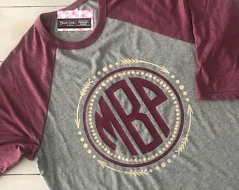 Arrow Monogram Shirt - Maroon & Muted Gold