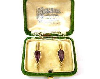 Antique 20th C Gold Washed Sterling Amethyst Lever Stud Earrings, Fred C Miller Watches Diamonds & Jewelry Syracuse, New York