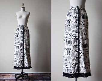 60s Skirt - Vintage 1960s Maxi Skirt - Novelty Print African Mythical Paintings Cotton Skirt M - Origin Stories Skirt