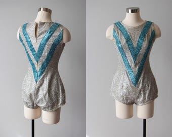 1950s Lurex Costume - 50s Drum Major Suit - Silver and Aqua Tinsel Lurex Bombshell Dance Majorette Suit S - Baton Twirler Suit