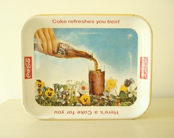 Coca Cola serving tray, 1961 Here's A Coke For You, mid-century diner decor, bar tray, summer entertaining, pansies & daffodils, blue sky