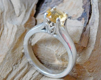 Citrine 7mm Round November Birthstone 6 Prong Solitaire Sterling Silver Rf005