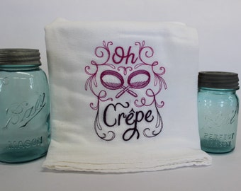 Oh Crepe Embroidered Flour Sack Kitchen Towel