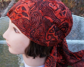 BATIK ORANGE HANDMADE Soft Cotton Dorag Womens Durag Chemo Biker Alopecia Girls Bandanna Doorag Under Helmet Doo