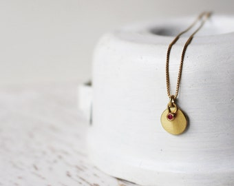 14 Karat Gold Round Pendant With a Tiny Ruby Pendant / 14k Gold Pendants / Ruby Gold Necklace / Ruby Pendant / Ruby Charm / Gift For Her