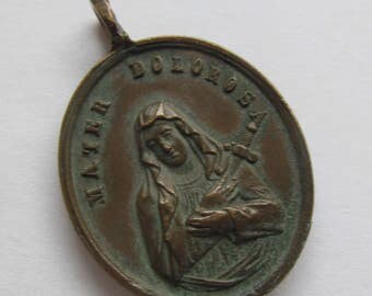 Virgin Mary Our Lady Of Sorrows Antique Religious Medal Sacred Heart Of Jesus Catholic Pendant  SS126