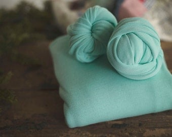 Photography Backdrop -Newborn Backdrop - Posing Fabric - Fabric Backdrop - Photography Blanket - Newborn Backdrop - Alpine MINT Plush Weave