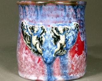 Cherubs Holding Roses Amazing Dark Red Purple Blue Crystalline\ Glazed Porcelain Mug Cherub Handle