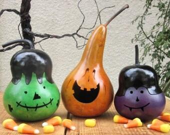 Halloween Gourd Jack O Lantern, Frankenstein, and Vampire Primitive Pumpkin Decoration ( sold as a trio )