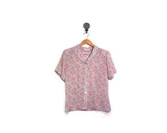 BTS SALE Vintage 80s Peter Pan Collared V Neck Sheer Floral Button Up Short Sleeve Blouse women s m l vestiesteam preppy garden indie boho r