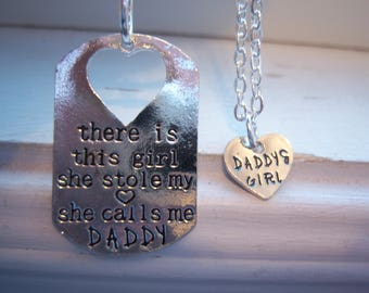 There Is This Girl She Stole My Heart She Calls Me Daddy Keychain With Daddy Girl Heart Necklace - Father Daughter -Free Gift With Purchase