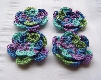 Crochet motif set of 4 flowers 1.5 inch spring embellishment crochet flower