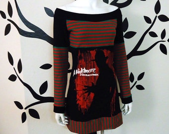 A Nightmare on Elm Street • Freddy Krueger • Off Shoulder Tunic Top / Dress • CUSTOM SIZE • Small Medium Large XL 1X 2X