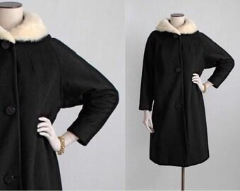 1950s vintage Stewart's mink collar black wool coat * 1960s jacket CT133