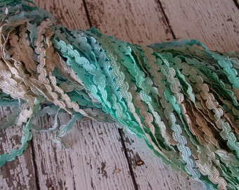 Pretty Hand Dyed Braided Rococo Trim in Beach Shore, 3 yards