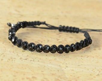 Black Tourmaline bracelet.Macrame bracelet.Woven bracelet.Thread bracelet