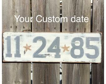 Beach Wedding Custom Date Anniversary Sign Save the Date Coastal Decor