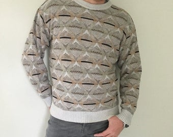 CLEARANCE Neutral Sweater, Pullover, Patterned Sweater, Diamonds, Chunky Sweater, ,Baggy Sweater, Mens Sweater Large, Womens Sweater Bulky,